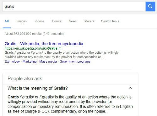 risultato della ricerca per la parola gratis su google
