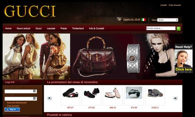 Un sito di e-commerce fasullo 'installato' su un vecchio dominio appartenente ad altra attività.