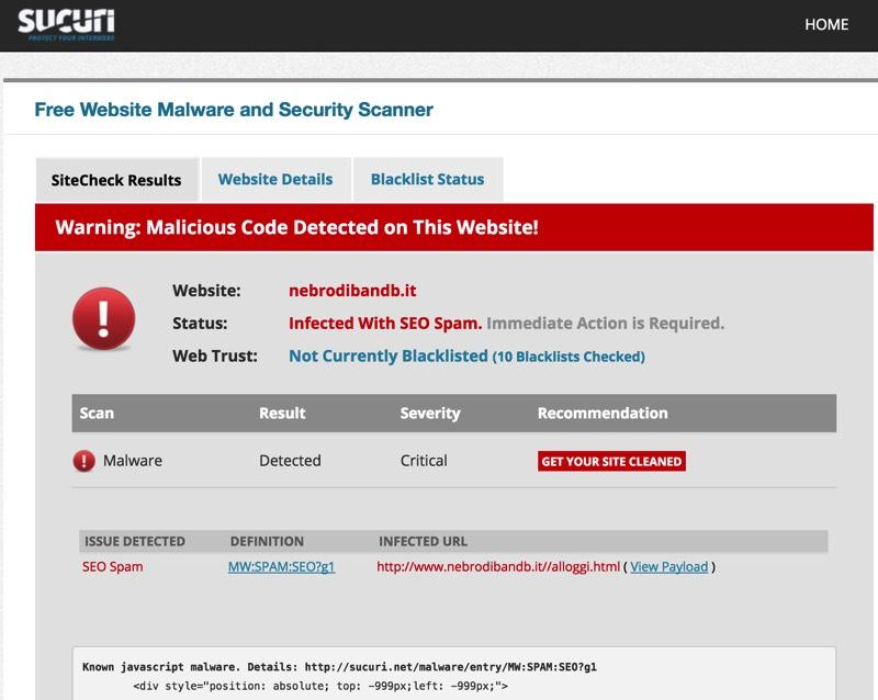 Un tipico esempio di compromissione di un sito attraverso codice malevolo, rilevato attraverso lo strumento SiteCheck di Sucuri